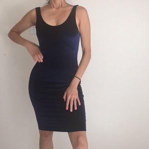 American apparel blue velvet bodycon dress
